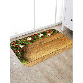 Christmas Jingle Bell and Board Print Non-slip Area Rug - WOOD W20 X L31.5 INCH