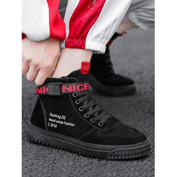 High Top Letter Embroidery Sneakers - BLACK EU 39