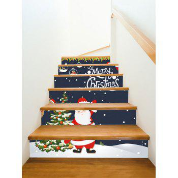 Merry Christmas Pattern Stair Stickers - MIDNIGHT BLUE 6PCS X 39 X 7 INCH( NO FRAME )