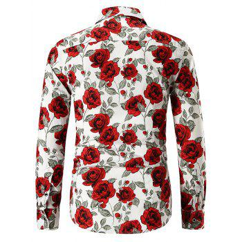 Rose Print Button Up Shirt - WHITE M