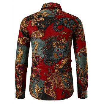Ethnic Paisley Print Button Up Shirt - RED WINE 2XL