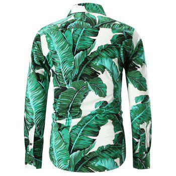 Casual Banana Leaves Print Shirt - GREEN L