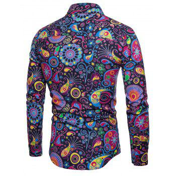 Colorized Patterning Printed Long Sleeve Shirt - CADETBLUE L