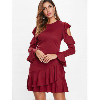 Open Shoulder Ruffled Mini Dress - RED WINE L
