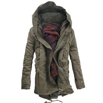 Casual Hooded Double Zip Up Padded Parka Coat