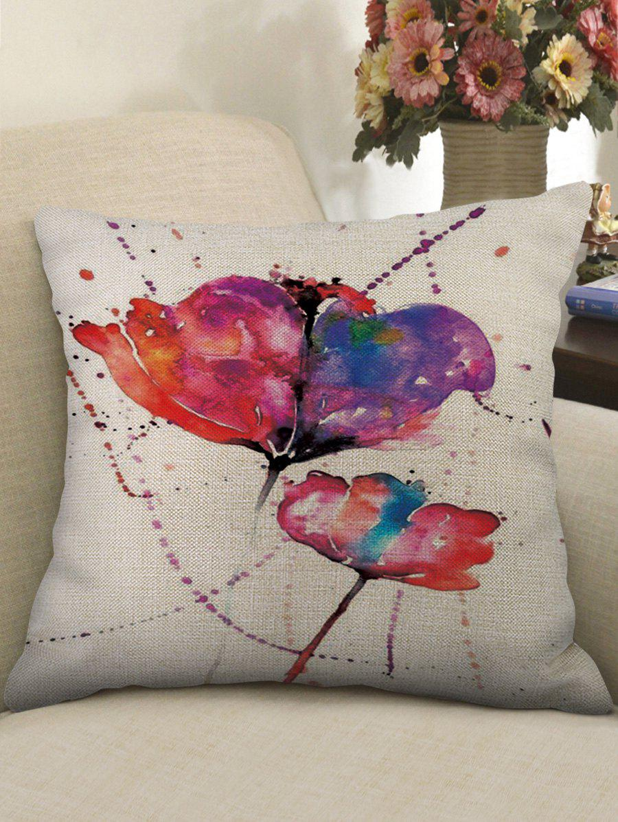 Watercolor Flowers Print Sofa Linen Pillowcase - CRYSTAL CREAM W18 X L18 INCH