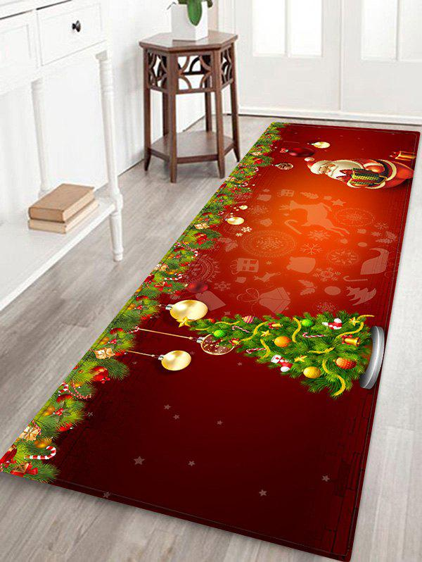 Christmas Tree and Santa Print Non-slip Area Rug - RED W24 X L71 INCH