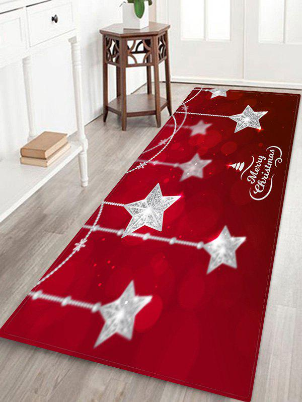 Christmas Star Hanging Print Waterproof Floor Mat - RED W24 X L71 INCH