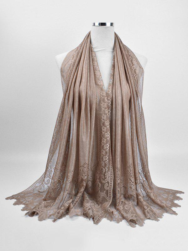 Floral Lace Lightweight Shawl Scarf - LIGHT KHAKI