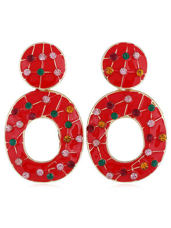 Vintage Colored Rhinestone Hollow Out Earrings - RED