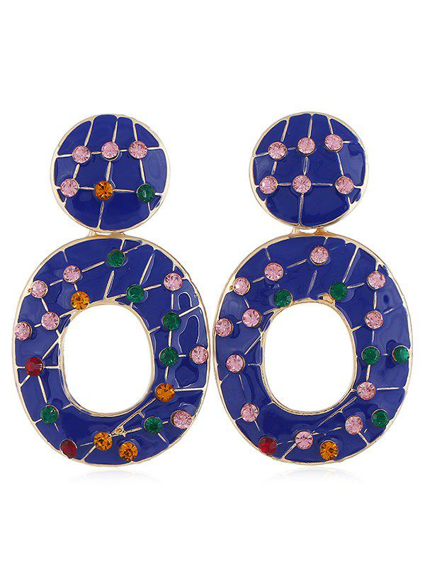 Vintage Colored Rhinestone Hollow Out Earrings - BLUE