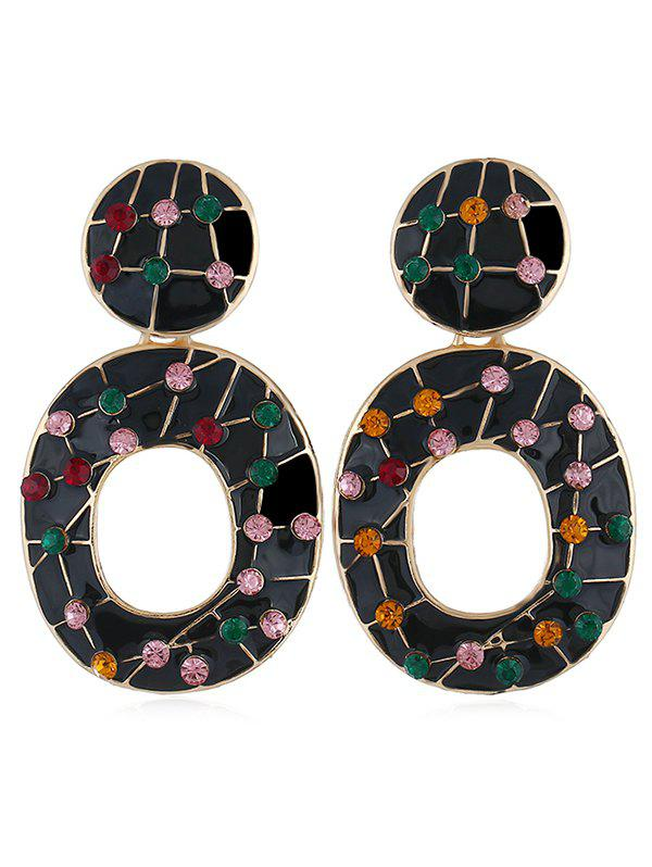 Vintage Colored Rhinestone Hollow Out Earrings - BLACK