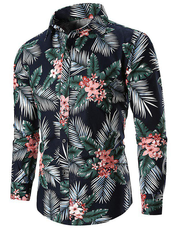 Casual Flower and Leaves Print Shirt