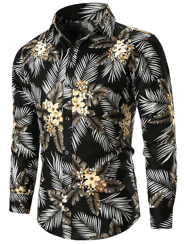 Casual Flower and Leaves Print Shirt - BLACK 2XL