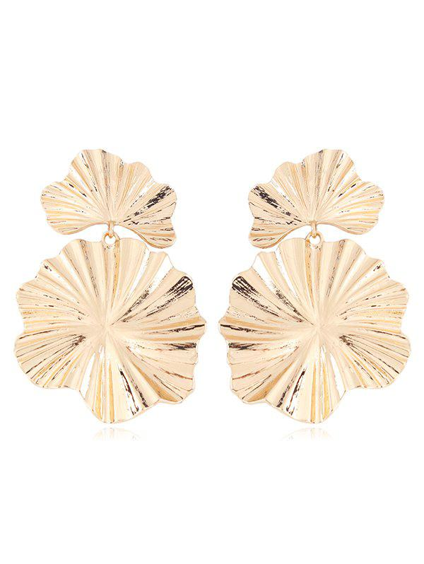 Statement Alloy Leaf Dangle Earrings - GOLD