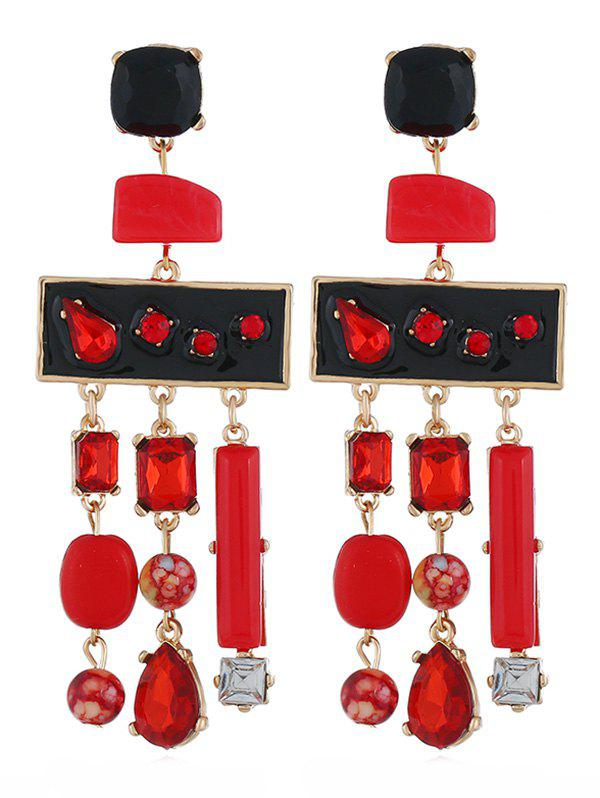 Colored Rhinestone Fringed Party Earrings - RED