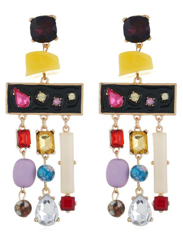 Colored Rhinestone Fringed Party Earrings - multicolor