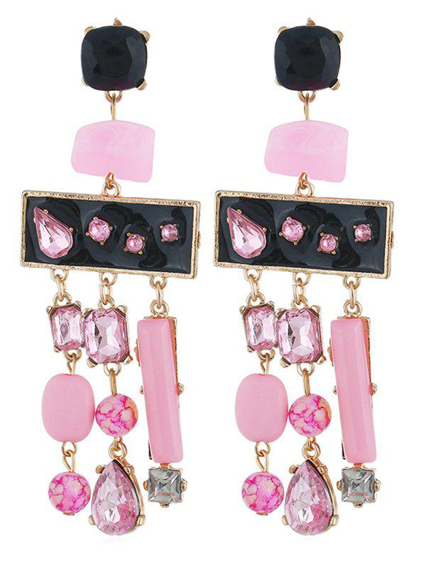 Colored Rhinestone Fringed Party Earrings - PIG PINK