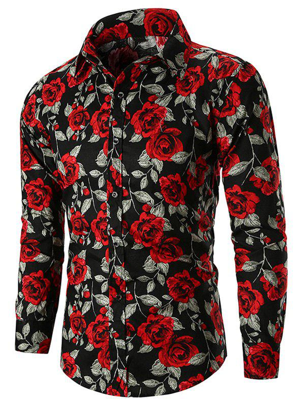 Rose Print Button Up Shirt - BLACK L