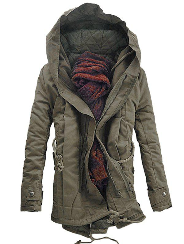 Casual Hooded Double Zip Up Padded Parka Coat - DARK KHAKI L