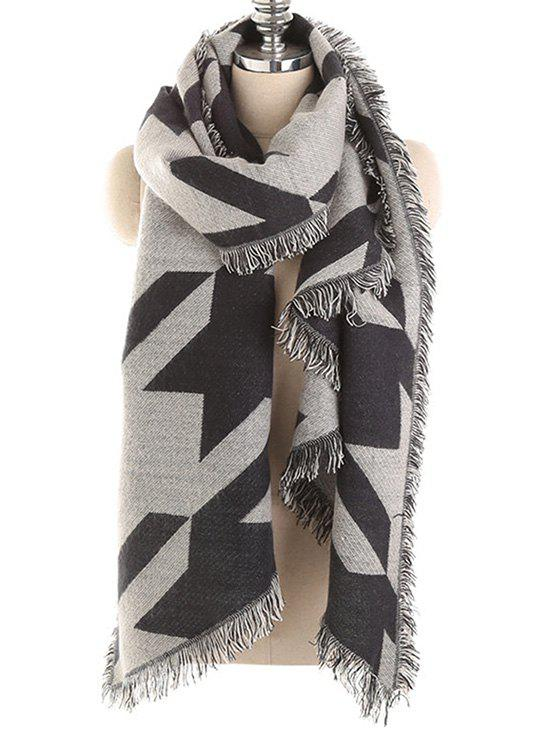 Houndstooth Fringed Winter Long Scarf - CADETBLUE