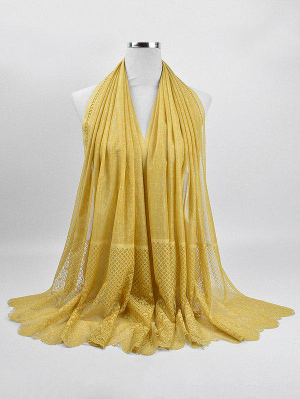 Soft Flower Lace Winter Long Scarf - GOLDENROD