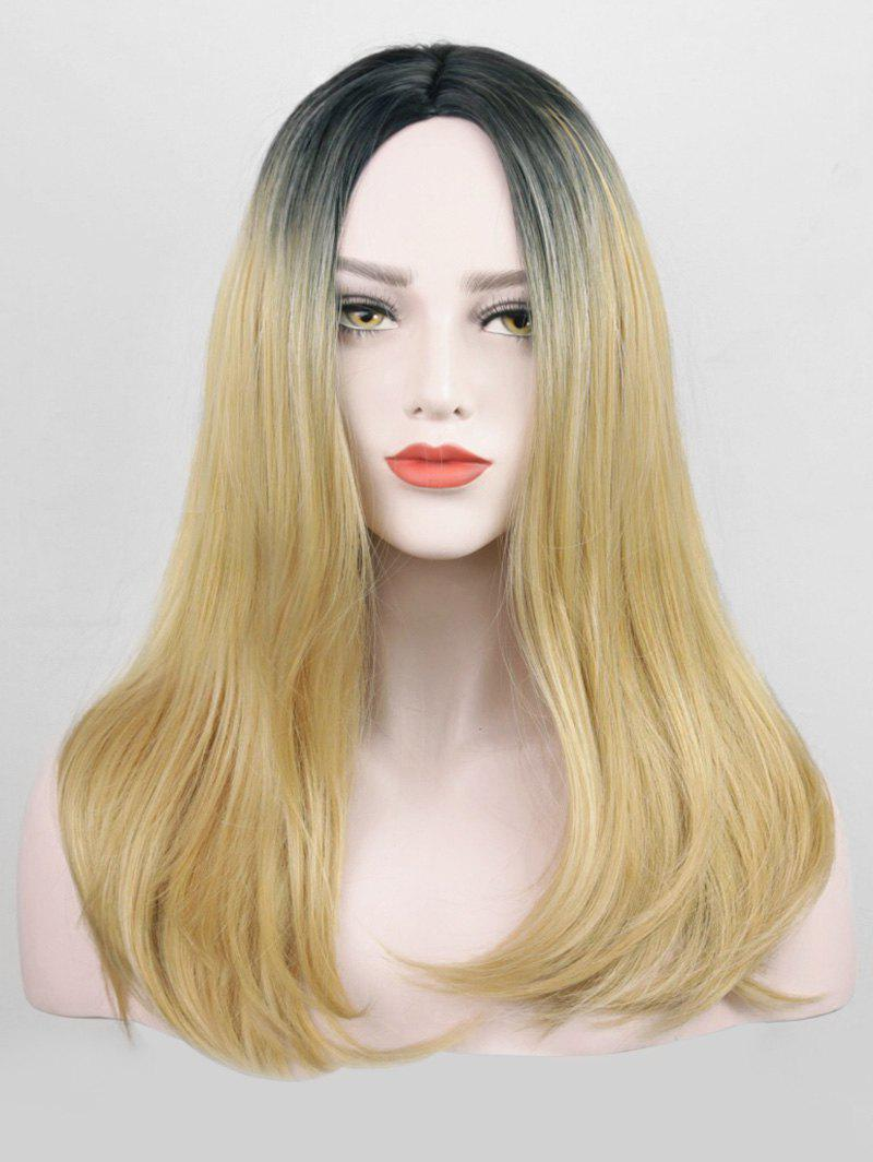 Center Parting Gradient Straight Party Long Synthetic Wig - GINGER BROWN