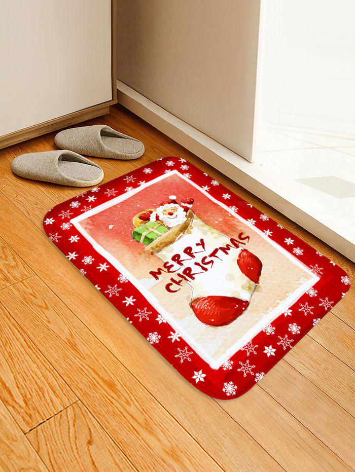 Christmas Sock Santa Snow Print Non-slip Area Rug - RED W16 X L24 INCH