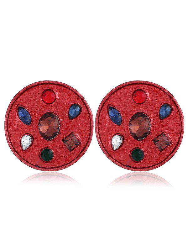 Faux Gem Inlaid Alloy Round Earrings - RED