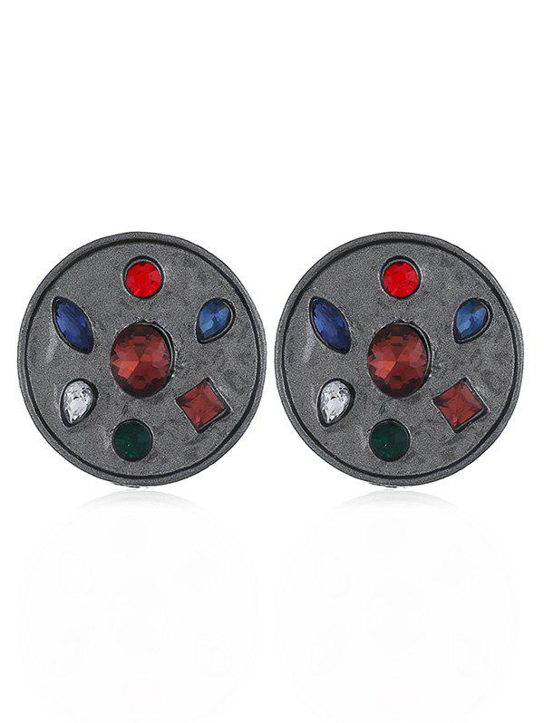 Faux Gem Inlaid Alloy Round Earrings - CARBON GRAY