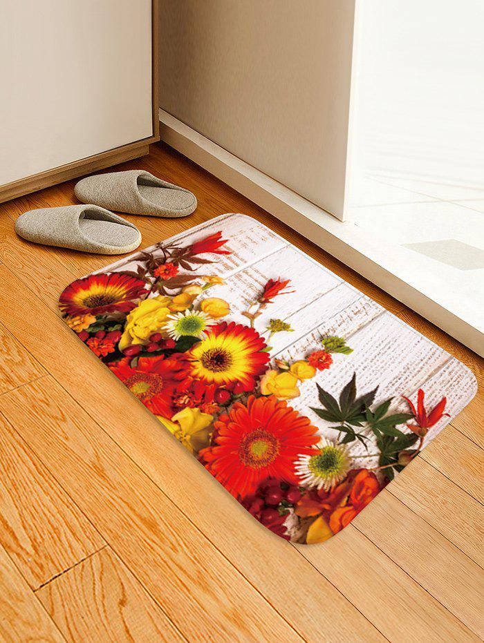 Flowers Wood Grain Pattern Anti-skid Area Rug - multicolor W16 X L24 INCH