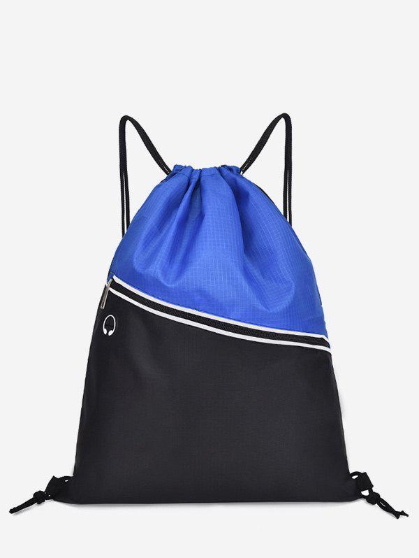 Leisure Beach Color Block String Backpack - MIST BLUE