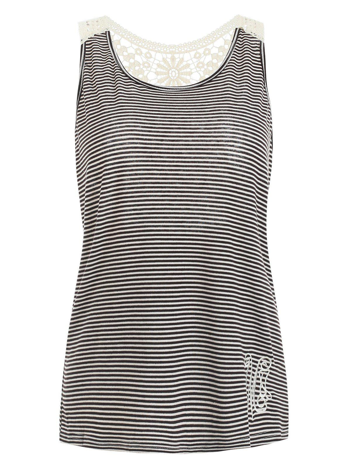 Stylish Scoop Neck Lace Splicing Striped Embroidery Women's Tank Top - GRAY XL