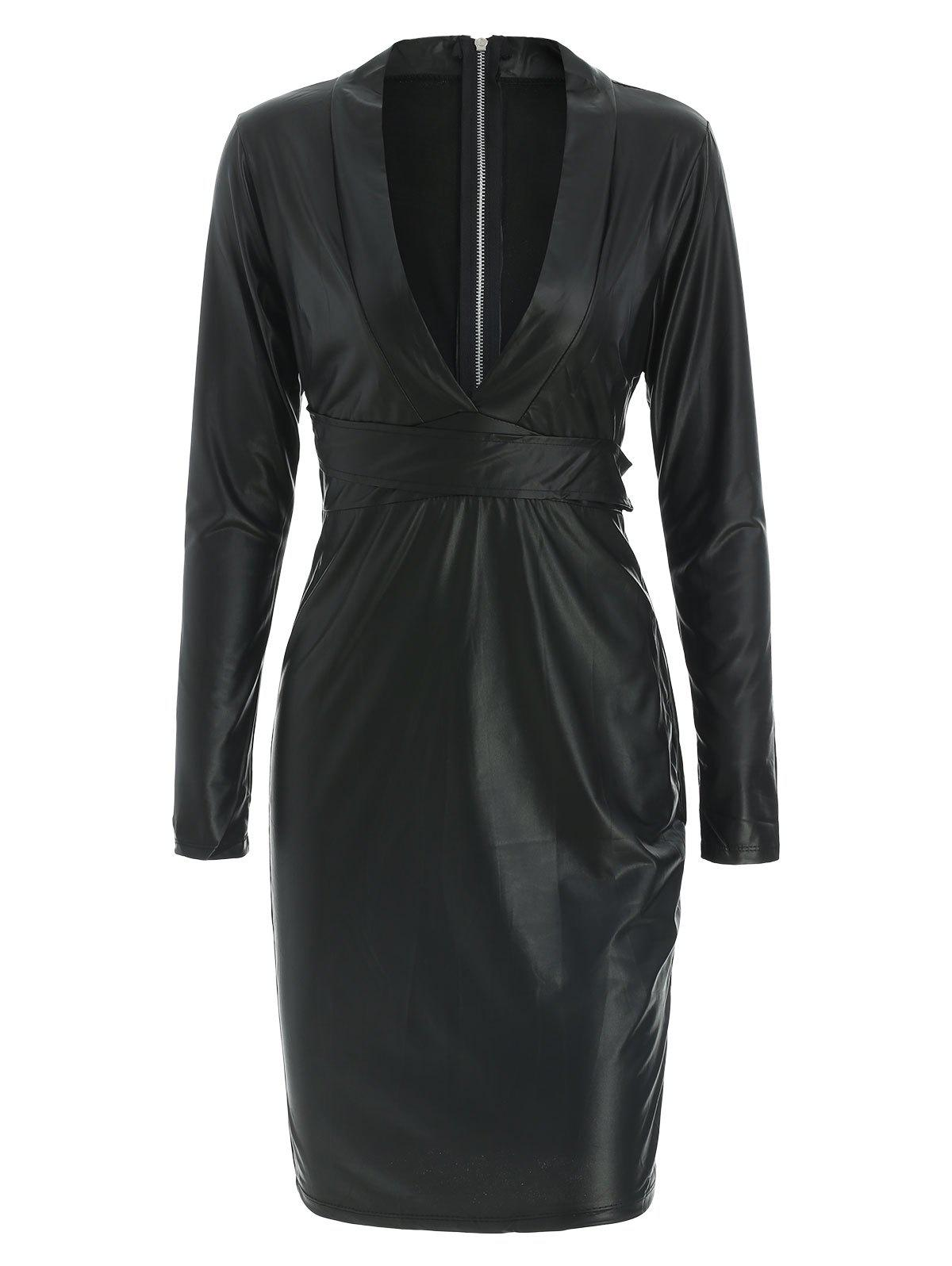 Sexy Style Plunging Neck Faux Leather Packet Buttock Long Sleeve Dress For Women - BLACK M