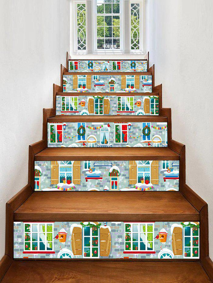 Christmas Home Pattern Stair Stickers - multicolor 6PCS X 39 X 7 INCH( NO FRAME )