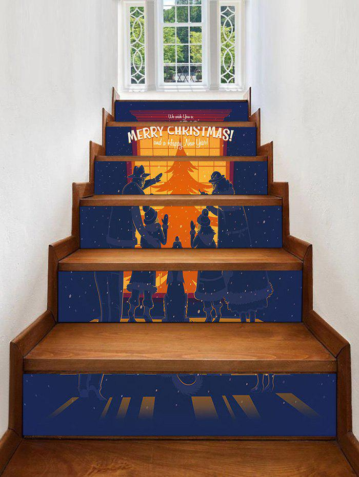 Christmas Show Window Family Silhouette Print Removable Stair Stickers - multicolor 6PCS X 39 X 7 INCH( NO FRAME )
