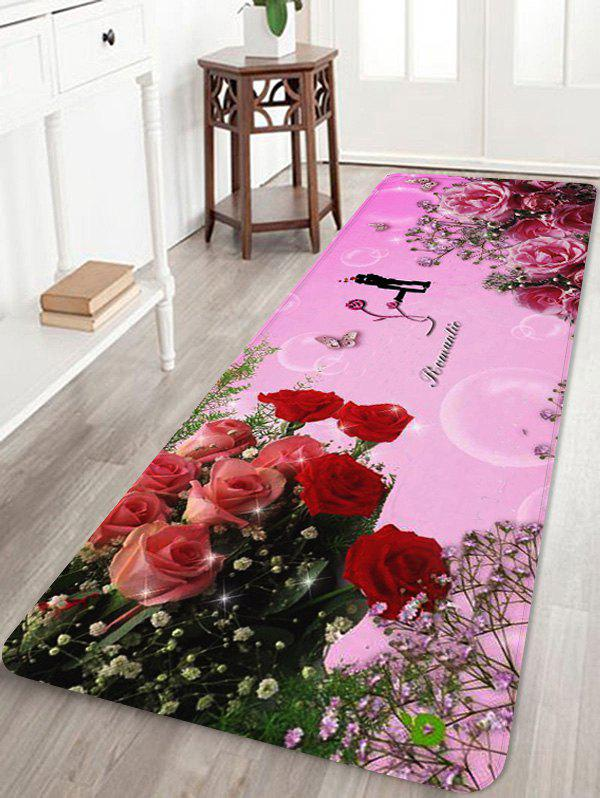 Rose Flower Print Non-slip Coral Fleece Area Rug - PINK W16 X L47 INCH
