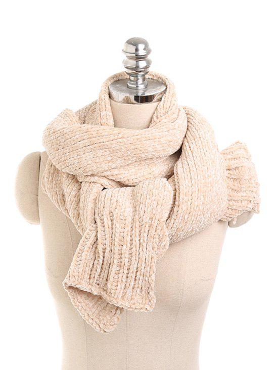 Solid Color Knitted Winter Scarf - BEIGE