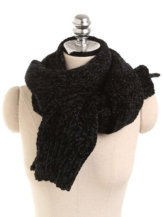 Solid Color Knitted Winter Scarf - BLACK