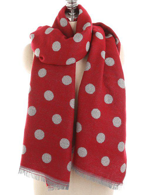 Polka Dot Fringed Long Scarf - CHERRY RED