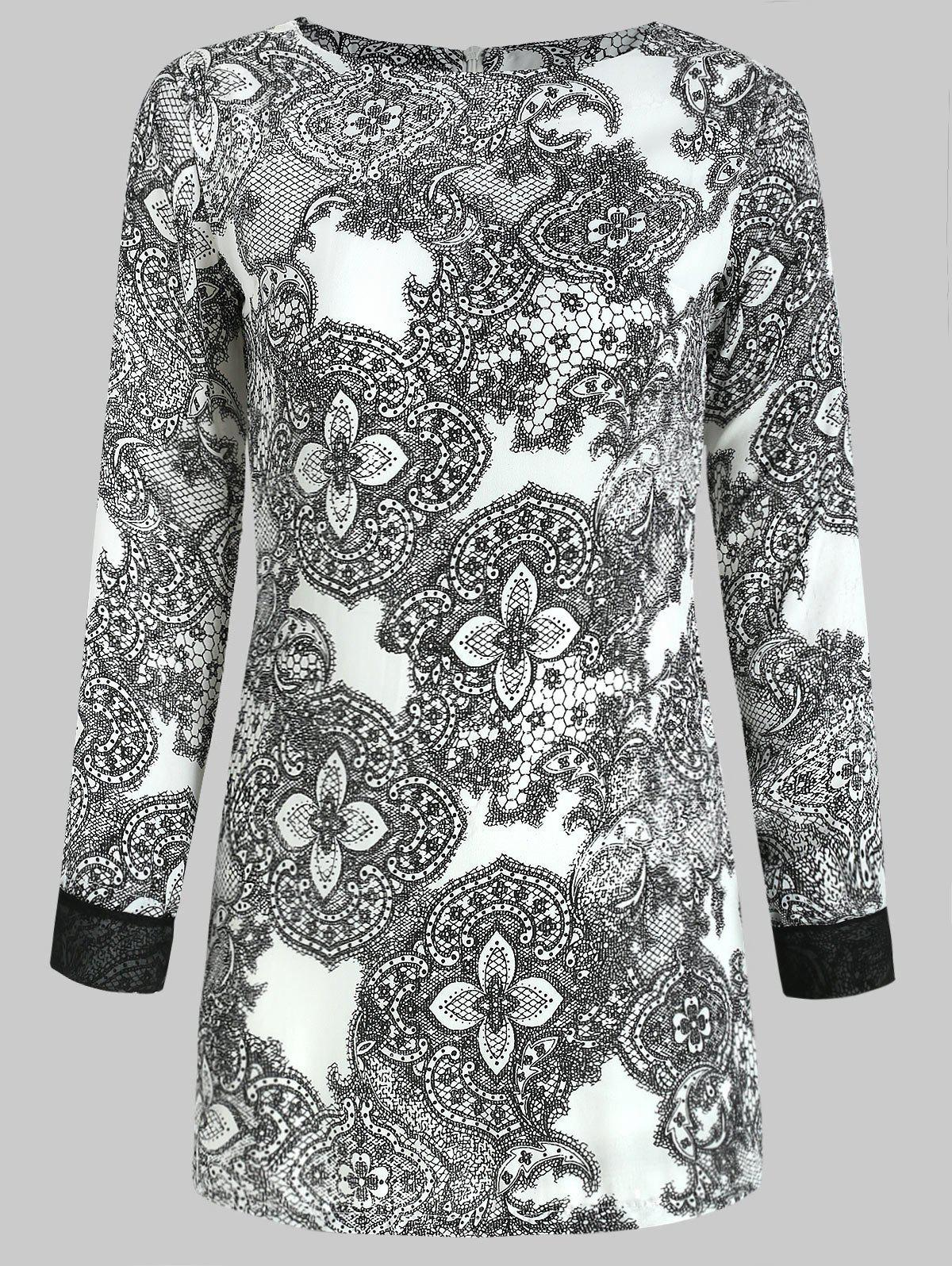 Elegant Printing Long Sleeved Women's Dress - GRAY M