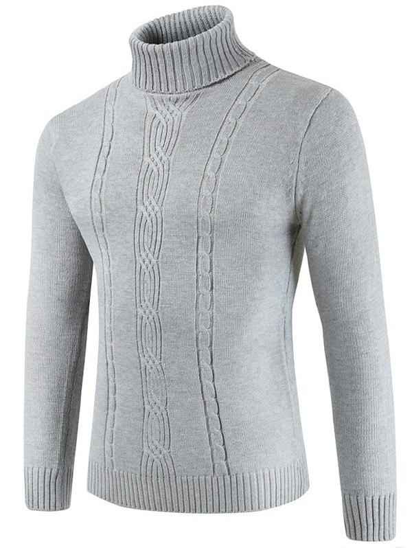 Turtle Collar Solid Color Knitted Sweater - LIGHT GRAY L