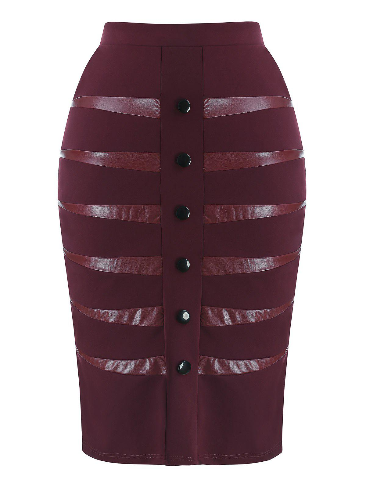 Plus Size PU Detail Skirt - RED WINE L