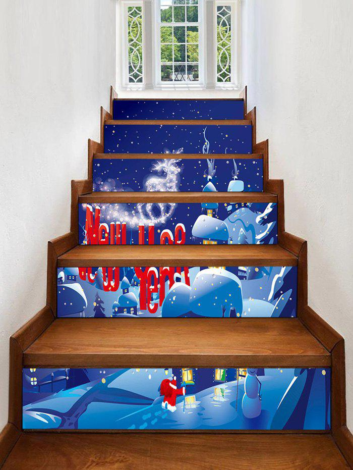 Christmas Village Snow Night Print Decorative Stair Stickers - multicolor 6PCS X 39 X 7 INCH( NO FRAME )