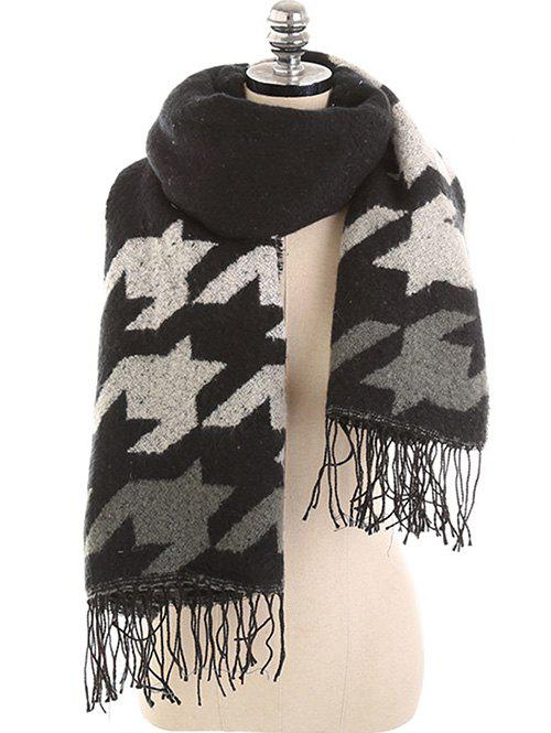 Winter Colored Houndstooth Shawl Scarf - multicolor B