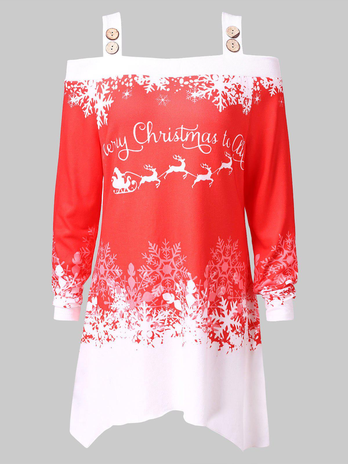 Christmas Plus Size Open Shoulder Snowflake Print Tee - RED L