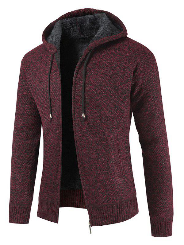Zipper Placket Drawstring Hooded Sweater - RED WINE 2XL