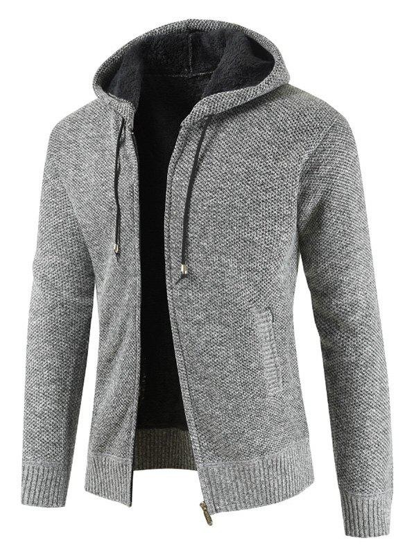 Zipper Placket Drawstring Hooded Sweater - LIGHT GRAY XL