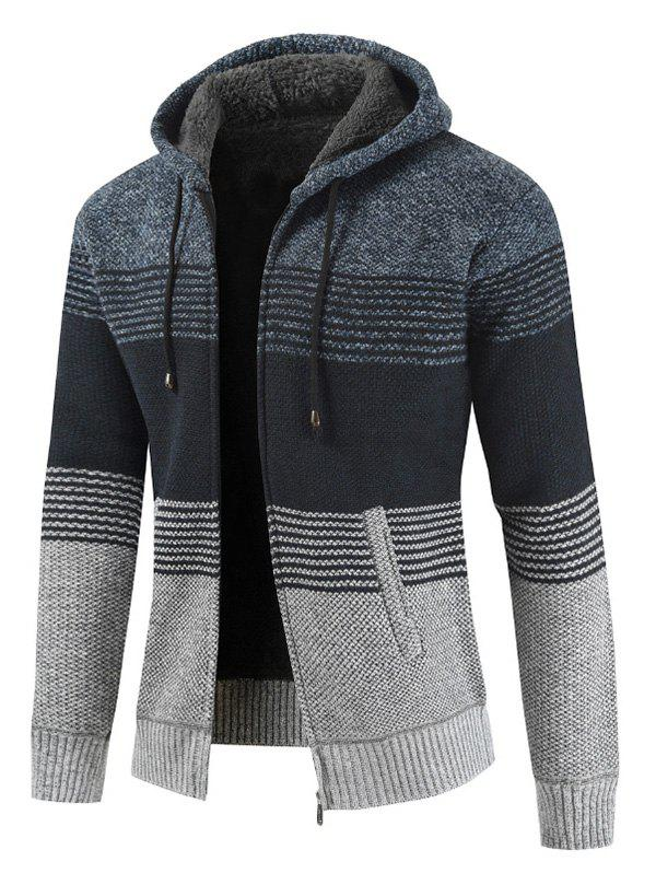 Color Block Zipper Hoodie Sweater - MIST BLUE M