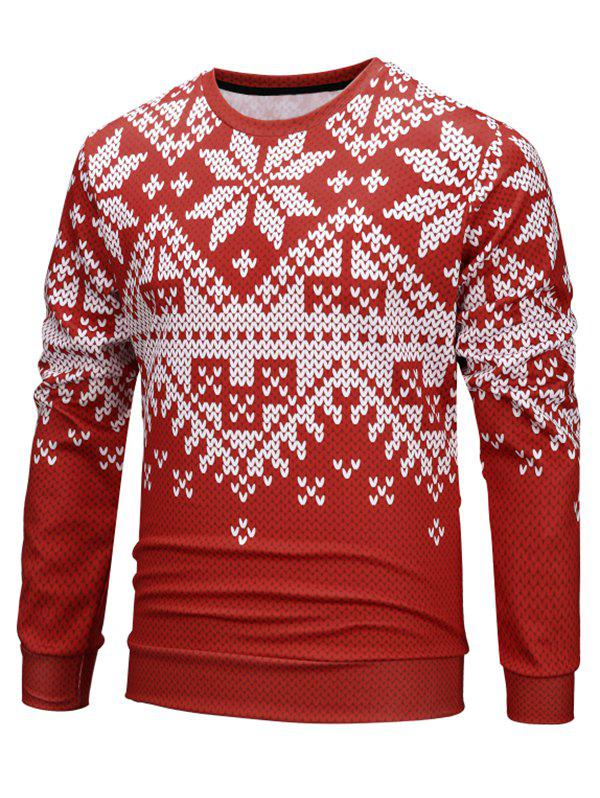 Christmas Snow Knitted Pattern Elastic Sweatshirt - LOVE RED 2XL